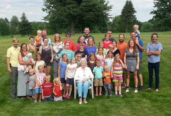 Blaine's siblings, less one, and families with Great Grandma, soon to be 97.